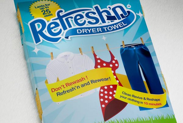 Refresh'n Dryer Towel retail packaging design
