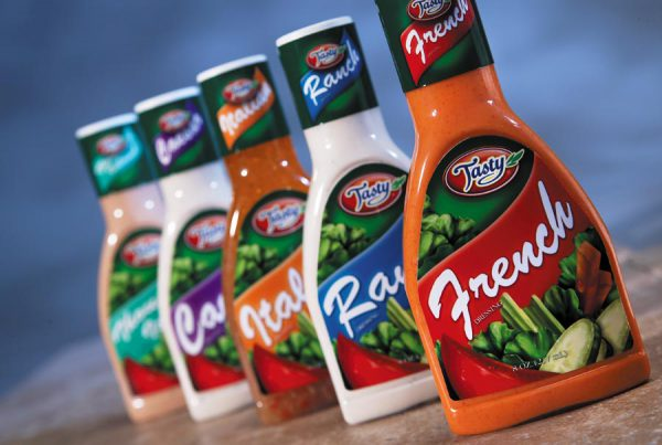 Tasty Foods salad dressings packaging design