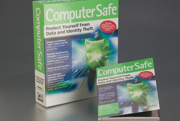 Computer Safe antivirus technology packaging design