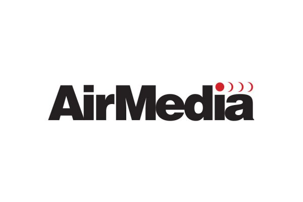 AirMedia brand logo design with black letters and red broadcast waves emanating from the letter i