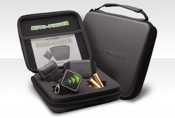 AutoFinder product in gray case with foam insert and cavity spaces for all elements