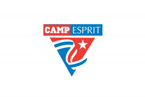 Camp Esprit brand logo design with red and blue stripe banner waving featuring star and lettering