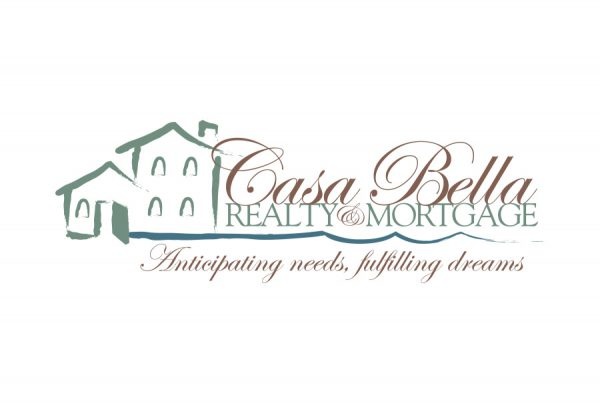 casa bella realty and mortgage line drawing with house and script letterforms