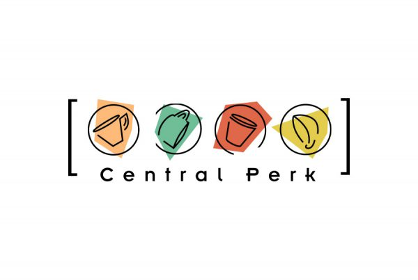 central perk logo design shows 4 cups of coffee with abstract shapes behind them