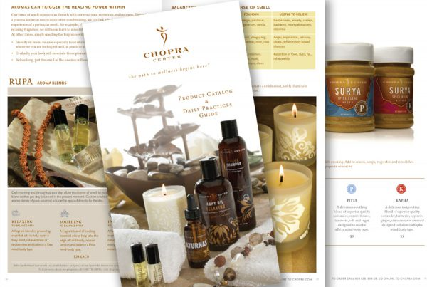 Chopra Center product catalog design with cover photo and 2-page spread shown
