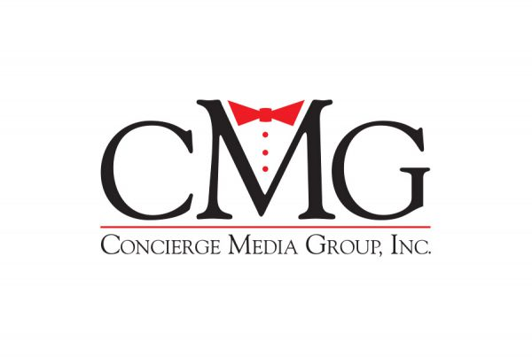 CMG Media Group brand design shows letter and tuxedo tie and buttoms