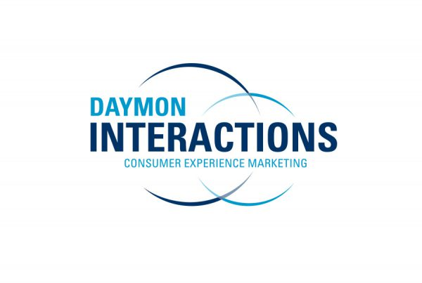 Daymon Interactions brand logo design shows lettering and two curved circles