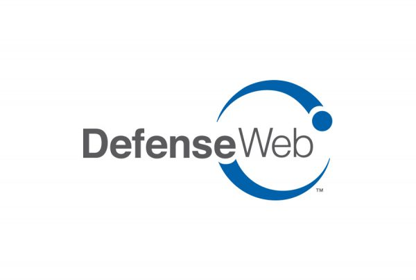 DefenseWeb brand design logo with lettering and two dots circling the letterforms