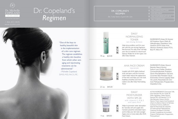 Catalog design for Dr. Michelle Copeland skin care 2 page spread