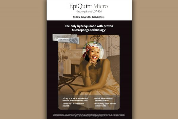 graphic design for Epiquinn Micro ad showing woman smiling and product image