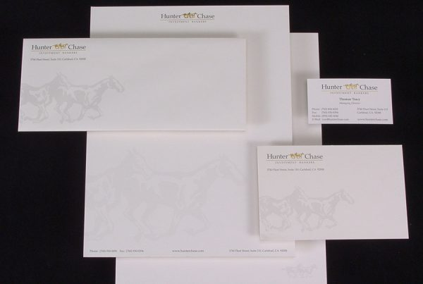 graphic design of hunter chase stationery