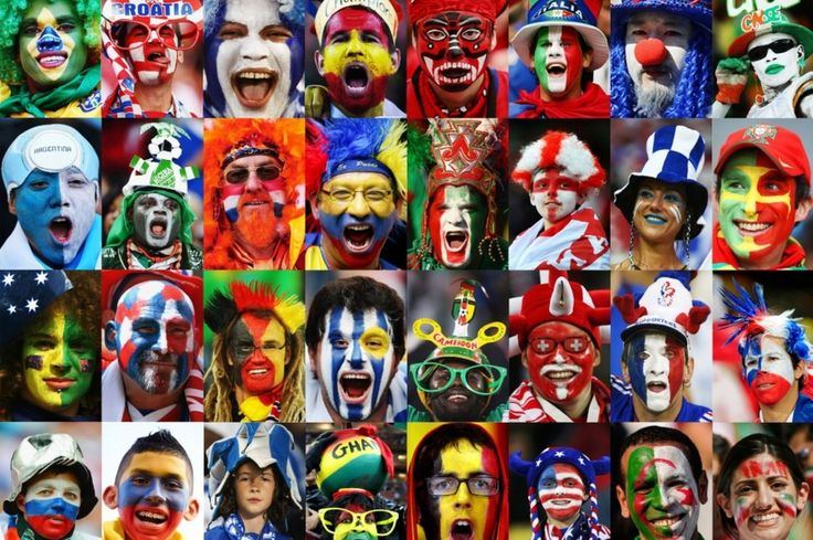 brand design grid of international faces painted with the flags of each country