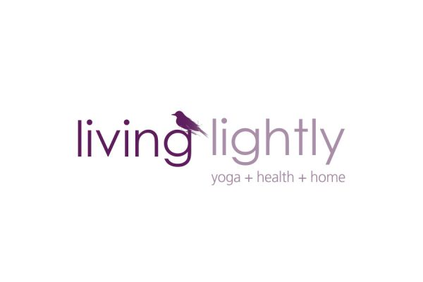 brand design logo for living lightly with bird and lettering