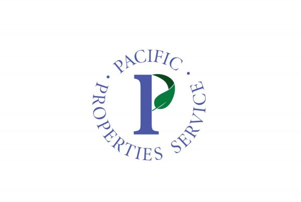 brand design logo for pacific properties services has large P and circle set text with leaf as the curve in the P