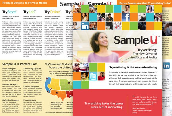 catalog design for Sample U