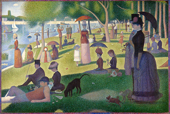 Painting by George Seurat titled Sunday Afternoon in the Park