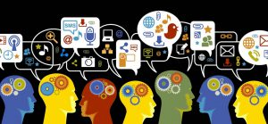 Catalog design graphic showing digital marketing icons over several icon person heads which illustrates how each person's journey is unique