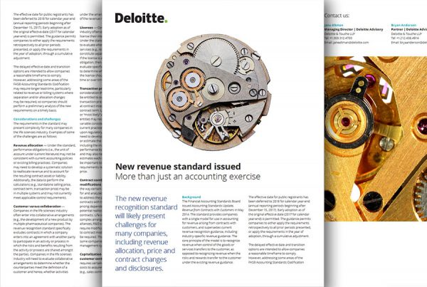 graphic design example of Deloitte service brochure
