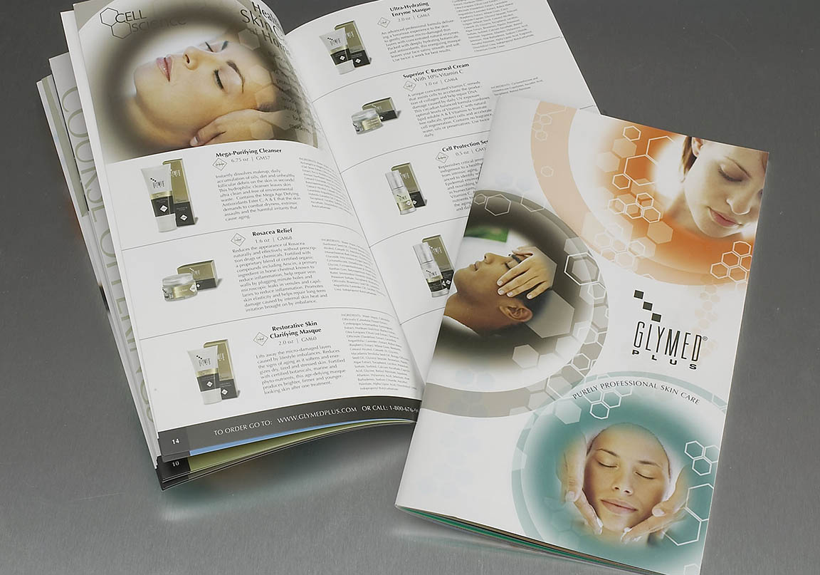 catalog design photo of glymed plus on silver background. Two page spread showing skin care products.
