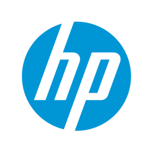 "HP brand logo design - blue circle with a lower case ""h"" and ""p"""