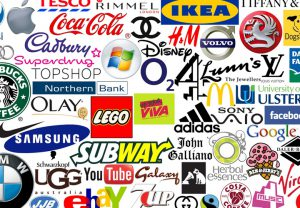 many famous brand logo designs shown in a collage