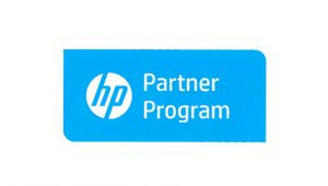 hp partner program logo with white text in a blue rectangle