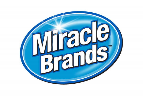 MiracleBrands words white set on blue oval with shine highlight