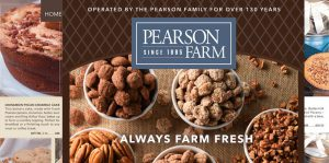 catalog design photo of cover from Pearson Farm showing pecans and food packaging designs