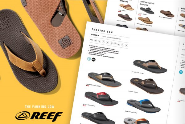 Catalog design for Reef brand sandals showing cover design and two interior pages