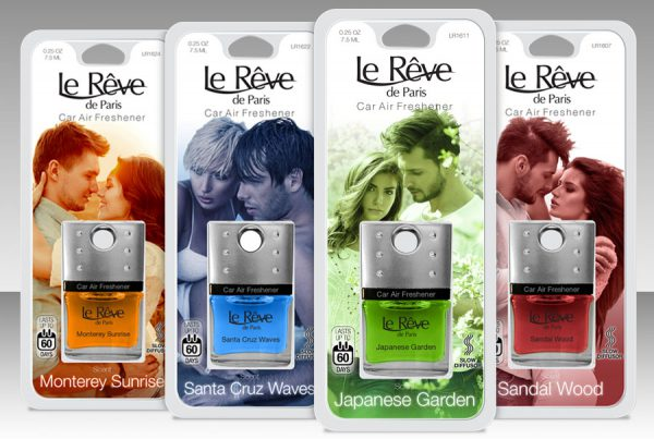 Le Réve car air fresheners in blister packaging. 4 fragrances shown with colorful models.