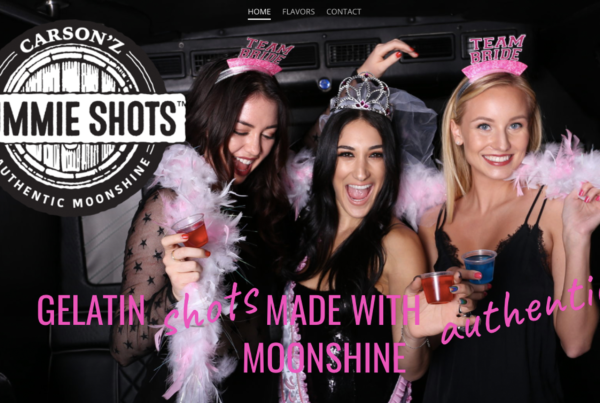 Carson'z Gummie Shots logo next to 3 young women in night time party attire wearing party hats and holding gelatin shots