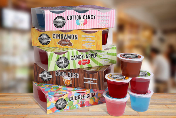 PRODUCT PHOTOGRAPHY OF GUMMIE SHOTS IN A VARIETY OF FLAVORS IN A BAR