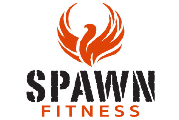 SPAWN FITNESS LOGO CONSISTING OF RED PHOENIX AND RED AND BLACK LETTER FORMS