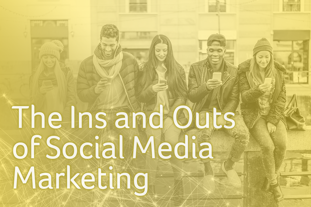line of people sitting on their smartphones, the ins and outs of social media marketing