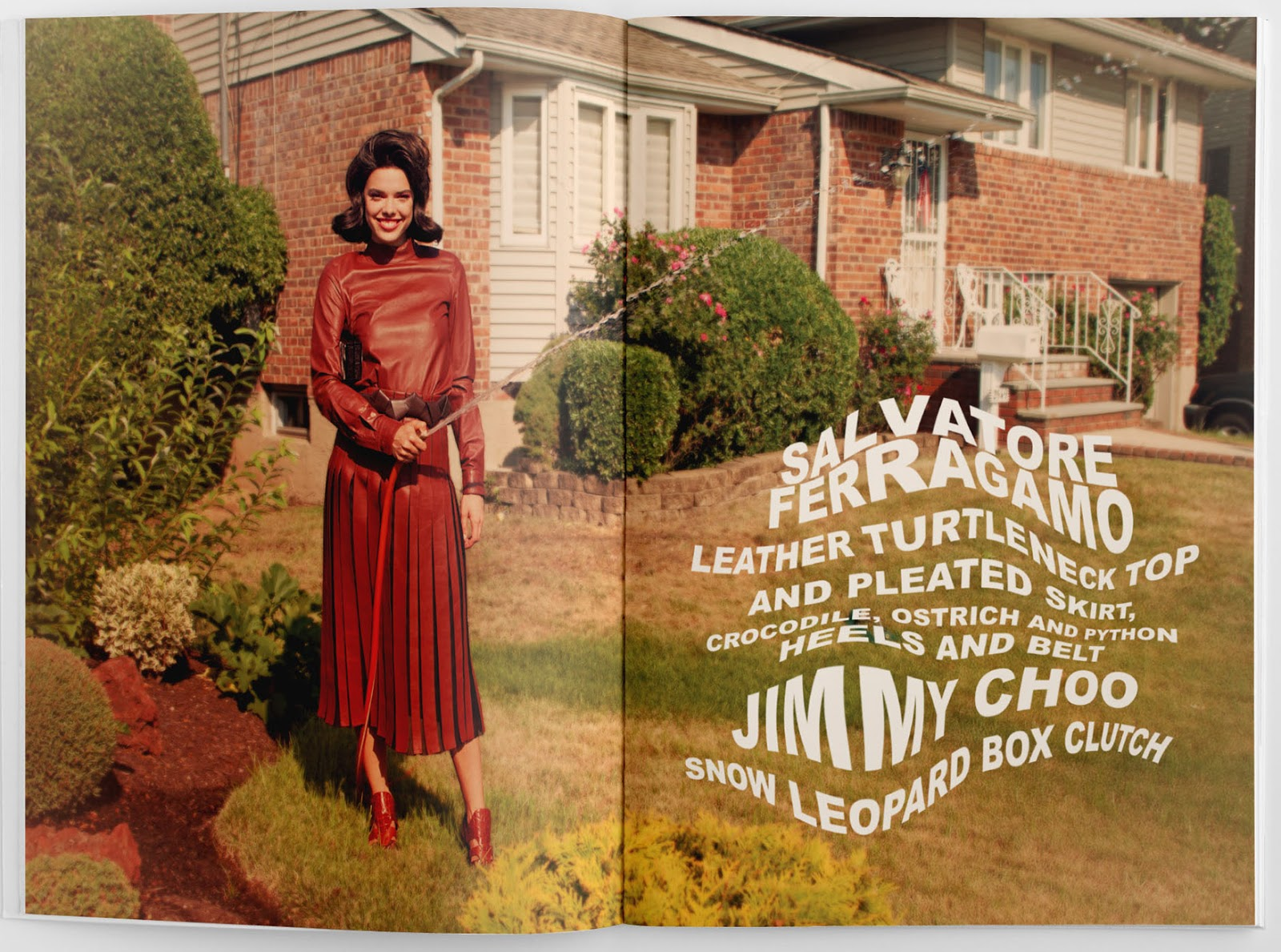 Magazine layout showing good use of typography, woman standing in yard with hose