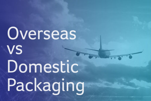 overseas vs domestic packaging - airplane flying away into the clouds