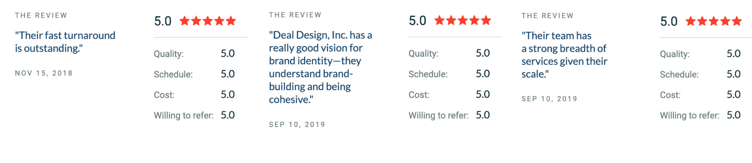 Deal Design's reviews on Clutch