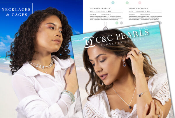 Catalog design showing photos of pages including women showcasing pearl jewelry with the ocean in the background.