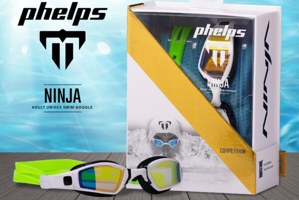Phelps Ninja Goggles Packaging on Table Top